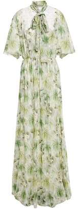 Giambattista Valli Lace-trimmed Gathered Floral-print Silk-chiffon Gown