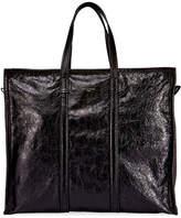 Balenciaga Men's Bazar Leather Large Tote Bag, Noir