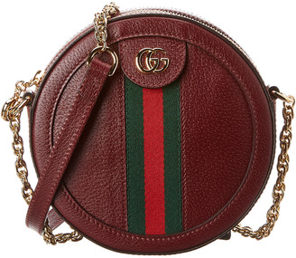 Gucci Ophidia Mini Round Leather Shoulder Bag
