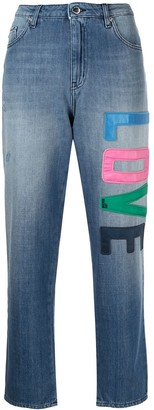 Love Moschino Mid-Rise Logo-Patch Cropped Jeans