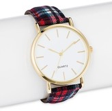 Merona Women's Plaid Strap Watch with White Dial Multicolor
