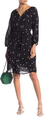 Velvet Floral Print Gauze Dress