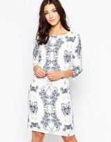 Ichi Kaledoscope Print 3/4 Sleeve Shift Dress