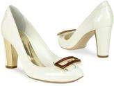 Mario Bologna Opalescent White Patent Leather Pump Shoes