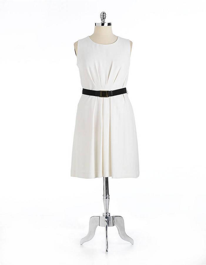 Tahari ARTHUR S. LEVINE Plus Cecilia Sleeveless Pleated Dress