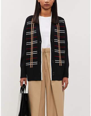 Maje Checked wool-blend cardigan