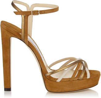 Jimmy Choo LILAH 130 Cuoio Mix Suede and Metallic Nappa Leather Sandal