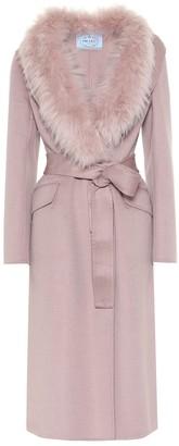 Prada Fur-trimmed wool-blend coat