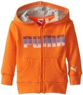 Puma Logo Zip Hoodie (Baby) - Fire Orange-12 Months