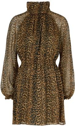 Saint Laurent Leopard-print wool mini dress