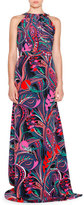 Emilio Pucci Sleeveless Multi-Print Maxi Dress, Nero/Smeraldo