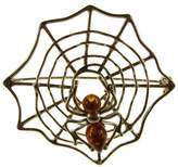 Cozmos Brooches BALTIC AMBER AND STERLING SILVER 925 DESIGNER COGNAC SPIDERWEB BROOCH PIN JEWELLERY JEWELRY