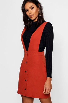 boohoo Plunge Front Button Pinafore Dress