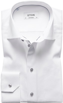 Eton White Twill Shirt With Grey Details - Contemporary Fit