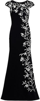 Theia Beaded Vine Crepe Gown