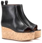 Givenchy Eleg Peep-toe Leather Wedges