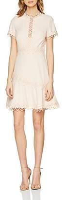Little Mistress Women's Nude Crochet Trim Skater Dress Party, Pink 001, 8 (Size:08)