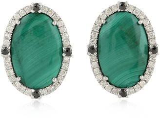 Artisan 18 Kt White Gold Earring Stud In Natural Malachite And Diamond Accents