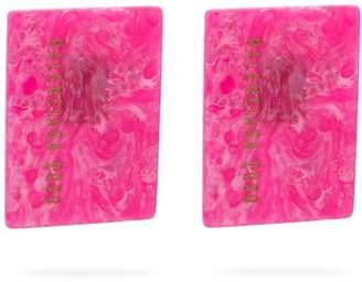 Balenciaga Credit Card Logo-plaque Drop Earrings - Womens - Pink