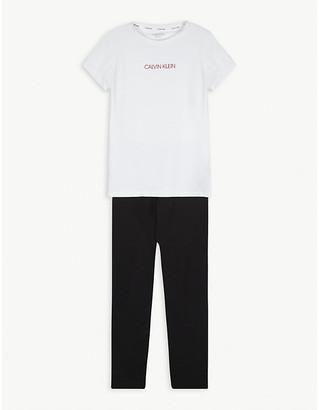 Calvin Klein Logo-printed cotton-blend pyjama set 8-16 years