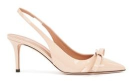 HUGO BOSS Slingback Pumps In Patent Italian Leather With Bow Detail - Light Beige