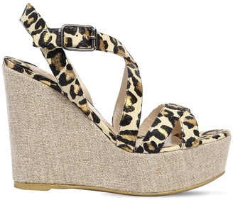 Ernesto Esposito 120mm Snake Printed Leather Wedges