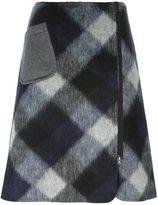 Jil Sander Navy A-line check skirt - women - Acetate/Cupro/Polyester/Mohair - 36
