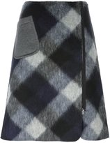 Jil Sander Navy A-line check skirt