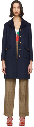 Gucci Navy Wool Single-Breasted Coat