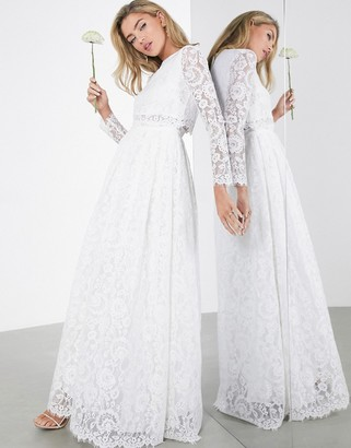 ASOS EDITION Grace lace long sleeve crop top maxi wedding dress