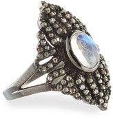 Bavna Rainbow Moonstone & Champagne Diamond Marquise Ring, Size 7