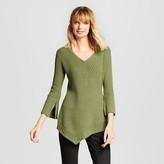 Women's Asymmetrical V-Neck Pullover Sweater - Heather B