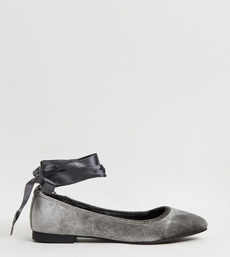 Simply Be wide fit ballet pumps in grey