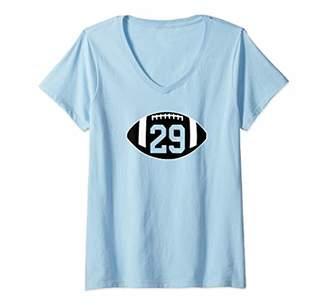 Womens Football Jersey Number 29 Jersey T-Shirt Art-Player Number V-Neck T-Shirt