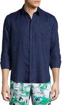 Vilebrequin Linen Long-Sleeve Shirt, Bleu Marine
