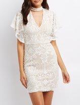 Charlotte Russe Lace Choker Neck Bodycon Dress