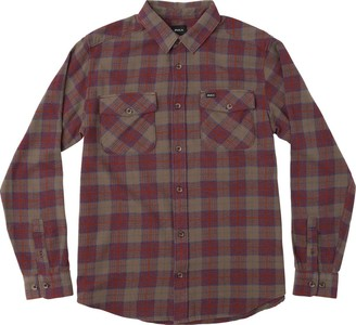 RVCA Men's That'll Work Flannel Long Sleeve Shirt Red Small