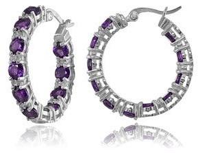 Glitzy Rocks Sterling Silver Gemstone Round Hoop Earrings