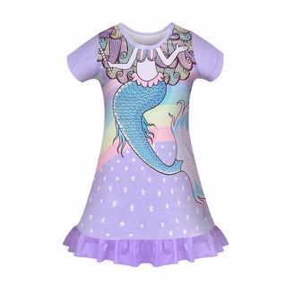 Kissi Generic Girls Unicorn Nightwear Pyjamas Princess Nightdress Kids Nightgowns Short Sleeve Nighties Sleepwear Child Sleeping Outfit