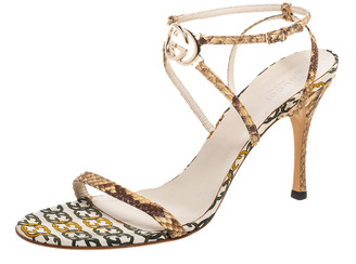Gucci Brown/Cream Python Leather Interlocking GG Ankle Strap Sandals Size 41