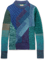 Burberry - Runway Patchwork Ribbed And Cable-knit Cashmere And Wool-blend Sweater