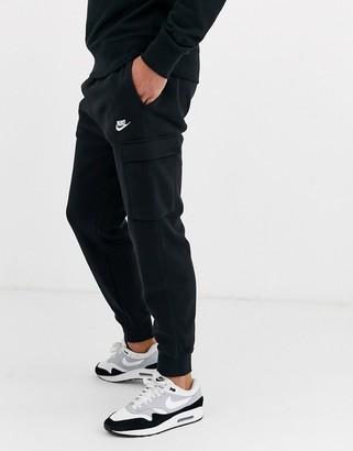 Nike Club cuffed cargo joggers in black