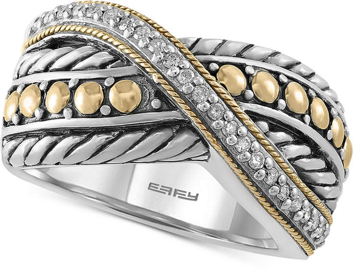 Effy Balissima by Diamond Two-Tone Crisscross Ring (1/10 ct. t.w.) in Sterling Silver & 18k Gold