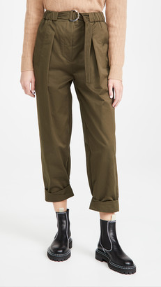 3.1 Phillip Lim Twill Utility Belted Pants with Rolled Cuffs