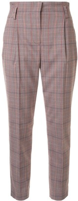 Olivia Palermo Tartan Print Pleated Detail Cropped Trousers