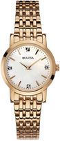 Bulova Womens Diamond-Accent Rose-Tone Stainless Steel Bracelet Watch 97P106