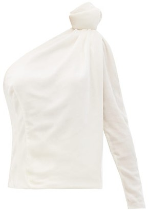 Vika Gazinskaya One-shoulder Velvet Top - White