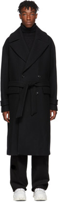 Juun.J Black Wool Double-Breasted Coat