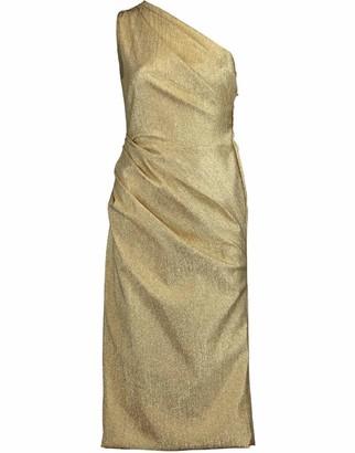Dolce & Gabbana One Shoulder Ruched Lame Dress