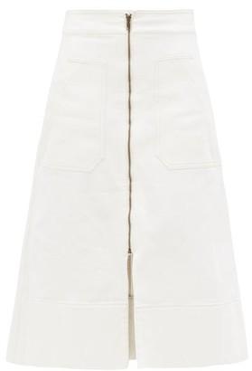 Ssōne Ssone - Zip-through Organic-denim Midi Skirt - Womens - Ivory